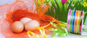Sztandaru tło z kolorowymi Wielkanocnymi jajkami Obrazy Stock