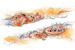 sztandaru włocha pizza Zdjęcia Stock