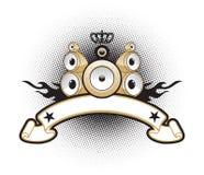 sztandaru złoci multistereo mówcy Zdjęcie Stock