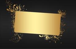 sztandaru złoty dekoracyjny Zdjęcia Stock