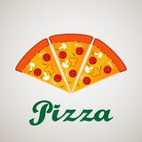 Sztandary, emblemat dla fasta food restauran loga z pizza plasterkami i inskrypcje, - pizza dom ilustracja wektor