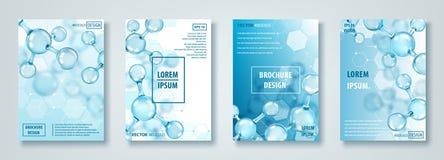 Sztandary lub broszurki z abstrakcjonistycznym molekuła projektem atomy Medyczny tło dla sztandaru lub ulotki ilustracji