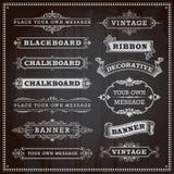 Sztandary, ramy i faborki, chalkboard styl Obrazy Stock