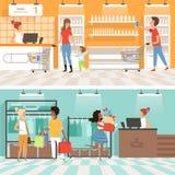 Sztandary supermarket Ludzie samiec i kobieta robią zakupom w sklepie ilustracja wektor