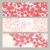 Sztandary z różowymi czereśniowymi kwiatami Zdjęcia Royalty Free