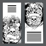 Sztandary z retro tatuaży symbolami Kreskówki starej szkoły ilustracja Zdjęcia Stock