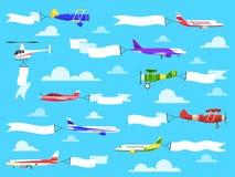 Sztandary z samolotami Lataj?cy samoloty z sztandarem w niebie, helikopter z reklamy wiadomo?ci? na faborkach kresk?wki serc bieg ilustracja wektor