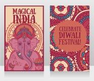 Sztandary z władyką Ganesha i etnicznym ornamentem Zdjęcia Royalty Free