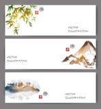 Sztandary z zielonym bambusem, górami i wyspą, ilustracji