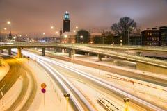 Sztokholm Cityhall przy nocą Fotografia Royalty Free