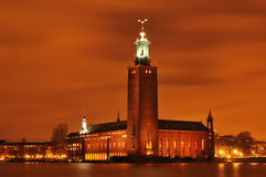 Sztokholm noc Zdjęcie Royalty Free
