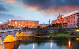 Sztokholm - pałac królewski i Riksdag, Szwecja Zdjęcia Stock