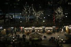 Sztokholm przy nocą widzieć od Skansenowskiego wejście skansen zdjęcie stock