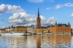Sztokholm stara grodzka panorama Obrazy Royalty Free