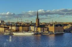 Sztokholm stara grodzka panorama Zdjęcie Royalty Free