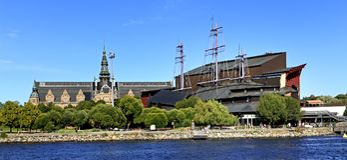 Sztokholm, Szwecja, Djurgarden wyspa - Vasa muzeum dedykował Zdjęcia Stock
