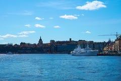 Sztokholm Szwecja, Kwiecień, - 22 2018: Sztokholm strzelał od morza fotografia royalty free