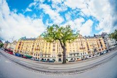 Sztokholm, Szwecja - 16 Maj, 2016: Sztokholm Strandwegen wykoślawienia fisheye perspektywiczny obiektyw fotografia stock