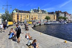 Sztokholm Szwecja, Norrmalm, - gromadzki widok od Starej miasteczka ćwiartki Zdjęcie Stock