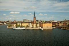 Sztokholm, Szwecja - Stary Grodzki Gamla Stan, widok od Monteliusvagen Zdjęcie Royalty Free
