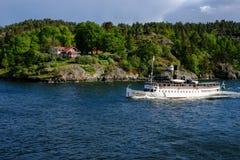 Sztokholm, Szwecja Szwedzki statek na morzu bałtyckim Obrazy Stock