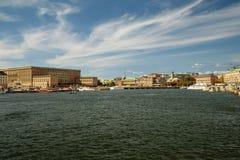 Sztokholm, Szwecja - widok przy Starym Grodzkim Gamla Stan i Royal Palace Zdjęcie Royalty Free