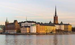 Sztokholm, Szwecja: Wieczór pejzaż miejski Zdjęcie Royalty Free