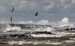 sztorm nad drogą morską Obrazy Royalty Free