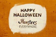sztuczka przysmaki typografii Halloween plakat z kaligrafią na ściennej teksturze Iinvitation sztandar Obraz Royalty Free