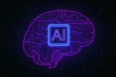 Sztuczna inteligencja i futurystyczny poj?cie obraz stock