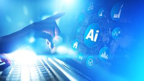 Sztuczna inteligencja, Maszynowy uczenie, Duża dane analizy automatyzacji technologia w przemysłowym rękodzielniczym pojęciu obraz royalty free