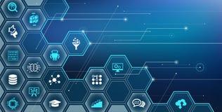 Sztuczna inteligencja, maszynowy uczenie, głęboki uczenie, IoT wektor ilustracja/ ilustracja wektor