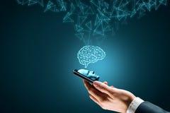 Sztuczna inteligencja na smartphone obraz stock