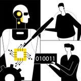 Sztuczna inteligencja - p?aska projekta stylu wektoru ilustracja ilustracji