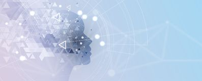 sztuczna inteligencja Technologii sieci tło Wirtualny conc ilustracja wektor