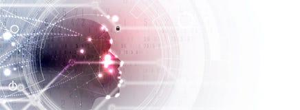 sztuczna inteligencja Technologii sieci tło Wirtualny conc royalty ilustracja