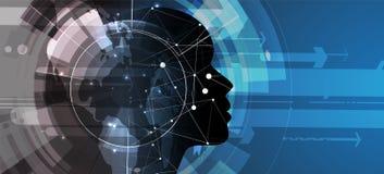 sztuczna inteligencja Technologii sieci tło Wirtualny conc Obrazy Royalty Free