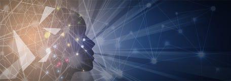 sztuczna inteligencja Technologii sieci tło Wirtualny conc Zdjęcia Royalty Free