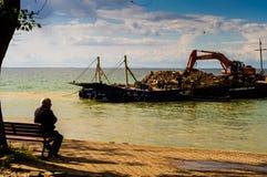 Sztuczna linii brzegowej budowa Zdjęcia Royalty Free