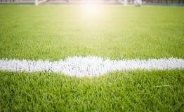 Sztuczna murawy boiska piłkarskiego zieleni bielu siatka Obrazy Stock
