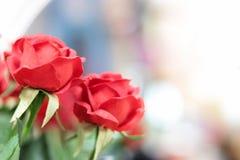 Sztuczne czerwone róże na zamazanym tle obrazy stock