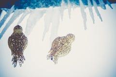 Sztucznej dekoraci Złoty Ptasi Retro Zdjęcie Royalty Free