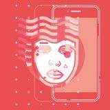 Sztucznej inteligenci cyfrowa móżdżkowa przyszłościowa technologia app, płaskiego pojęcia wektorowy projekt royalty ilustracja