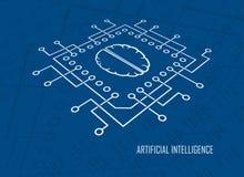 Sztucznej inteligenci jednostki centralnej mózg wektor Zdjęcie Royalty Free