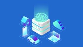 Sztucznej inteligenci Móżdżkowej technologii isometric wideo pojęcie royalty ilustracja