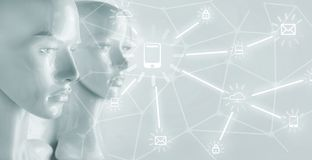 Sztucznej inteligenci pojęcie - internet, sieć, globalizati obrazy stock