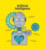 Sztucznej inteligenci robota bicia serca opieki zdrowotnej technologia ilustracja wektor