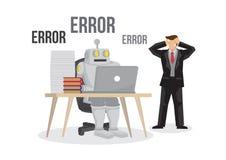 Sztucznej inteligenci robota puszka niepowodzenie łamająca opłata overlo Obraz Stock