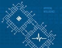 Sztucznej inteligenci wirtualny zaawansowany technicznie wektorowy tło Zdjęcie Royalty Free