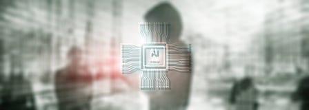 Sztucznej inteligencji przysz?o?ci technologia Zamazany abstrakcjonistyczny b??kitny t?o ludzie sylwetek obraz stock
